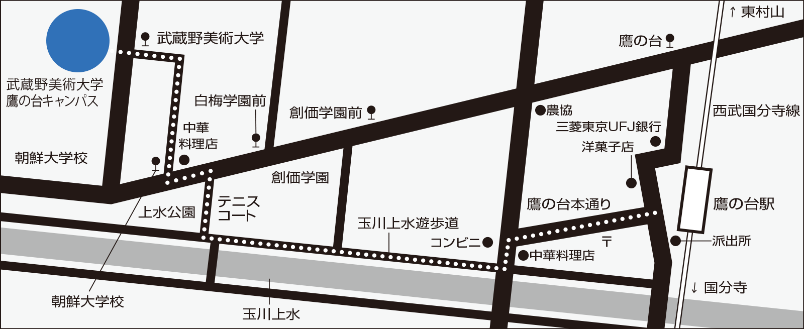 鷹の台キャンパスの地図