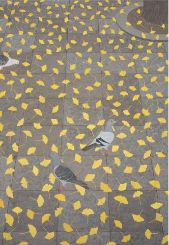 駅前舗道の秋